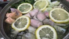 秋鮭と白子のレモン鍋