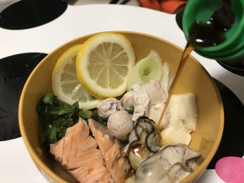 鮭と白子のレモン鍋