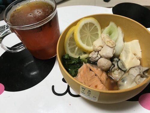 鮭と白子のレモン鍋とビール