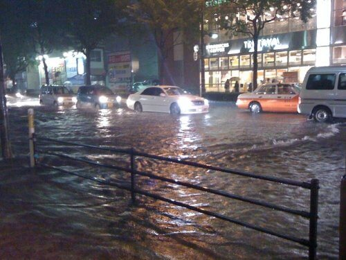 大雨で大増水