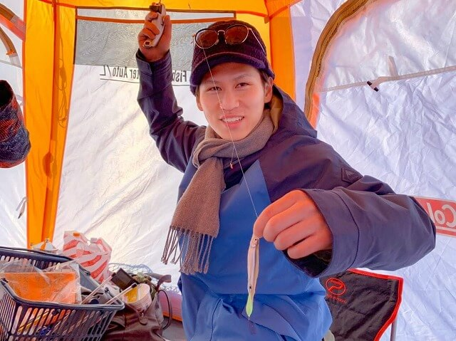 網走湖のワカサギ釣り